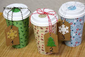 Adventskalender aus coffee to go Bechern basteln