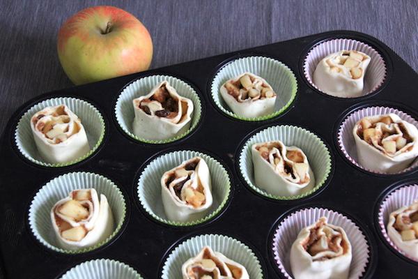 Apfel Nuss Zimtschnecken aus Blätterteig backen