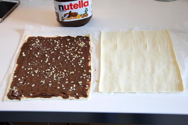 Nutella Blätterteig Schnecken mit Nüssen Rezept