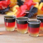 Schwarz-Rot-Gold Deutschland Wodka Wackelpudding Shots in Nationalfarben für WM, EM oder ESC Party